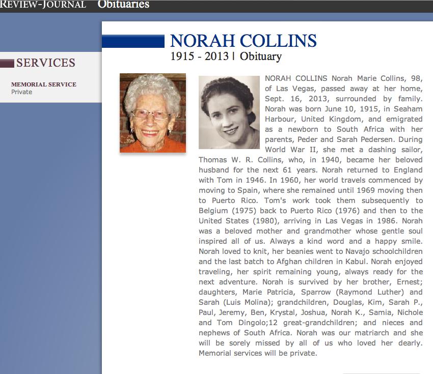 Norah Collins Obit